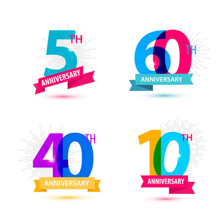 Vector set of anniversary numbers design. 5, 60, 40, 10 icons, compositions with ribbons. Colorful, transparent with shadows on white background isolated Illustration
