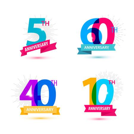 Vector set van verjaardag cijfers ontwerp. 5, 60, 40, 10 iconen, composities met linten. Kleurrijke, transparante met schaduwen op witte achtergrond geïsoleerd