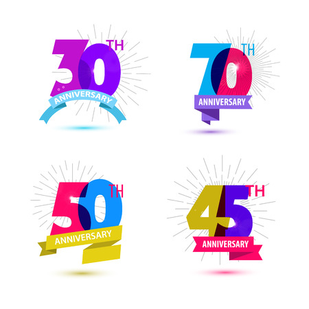 Vector set of anniversary numbers design. 30, 70, 50, 45 icons, compositions with ribbons. Colorful, transparent with shadows on white background isolated