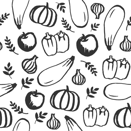 vintage kitchen: Vector hand drawn doodle food seamless pattern. Chalkboard Eco, organic food, fruit and vegetables, farm Illustration
