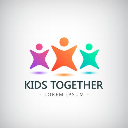 Vector colorido niños logotipo, logotipo de los niños, la amistad icono, identidad