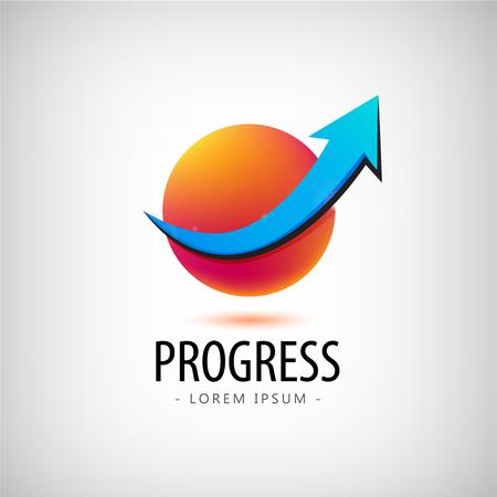 Vector progress logo, growth logo, financial and business success logo, icon, arrow up logo, sphere, 3d, identity, web logo, career success