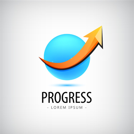 career up: Vector progress logo, growth logo, financial and business success logo, icon, arrow up logo, sphere, 3d, identity, web logo, career success