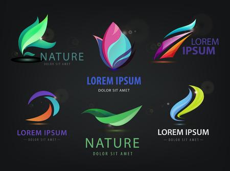 Vector reeks abstracte golvende, kuuroord, salon, natuur logo's, pictogrammen geïsoleerd op een donkere achtergrond. Identiteit