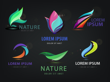 Vector set of abstract wavy, spa, salon, nature logos, icons isolated on dark background. Identity