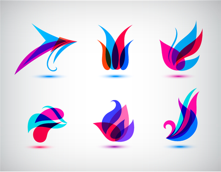 for design: Collection, Set Of Abstract Symbols Isolated On White Background - Vector Illustration, Graphic Design Editable For Your Design. Logo Flat Symbols. Spa, cosmetics logos.