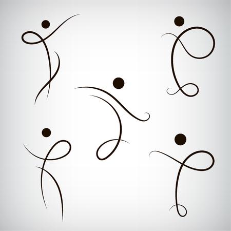 Vector set de l'homme de ligne, des formes humaines. Utilisez des logos, icônes, illustrations. Danse fitness santé beauté, sport. Logo