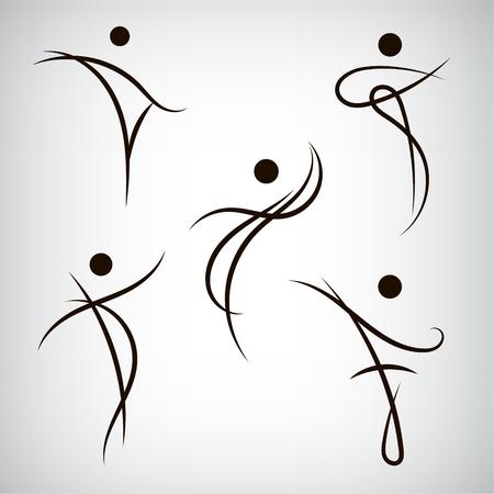 Vector set de l'homme de ligne, des formes humaines. Utilisez des logos, icônes, illustrations. Danse fitness santé beauté, sport.