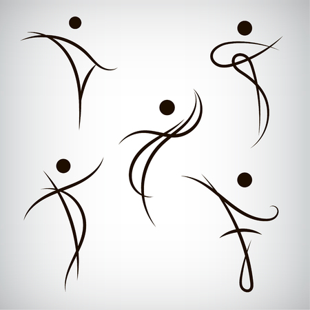 health beauty: Vector set of line man, human shapes. Use for logos, icons, illustrations. Dance fitness health beauty, sport. Illustration