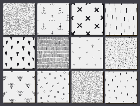 hand set: Vector set of hand drawn seamless cute abstract patterns, backgrounds.