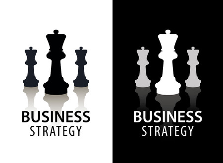 business game: Vector business strategy logo, concept, chess logo. Black and white with reflection. Game, management, finance logo