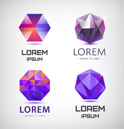 Vector set of purple crystal, faceted logos, 3d abstract logos gem jewelry logos, identity icons Illustration