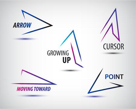 Insieme di vettore di linea frecce colorate modelli, design freccia logo, marchio di Web, icona, astratto, geometrico logo
