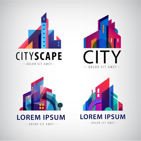 Vector conjunto de logotipos de la ciudad scape, logotipos, logotipos de construcción de inmuebles, la ciudad de los rascacielos, logotipos, iconos aislados. logotipo de casas