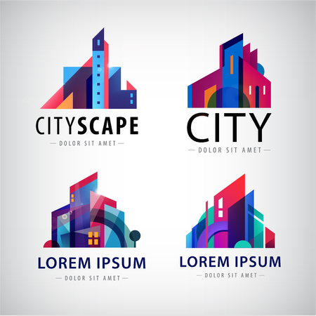 homes exterior: Vector set of city scape logos, building logos, property logos, town, skyscrapers logos, icons isolated. Houses logo