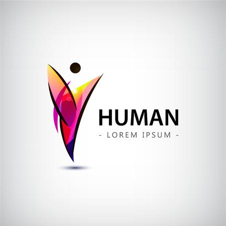 Éxito Salud plantilla de logotipo ganador Corporativa. Concepto de negocio. Abstracto humana. Vector línea de colorido icono.
