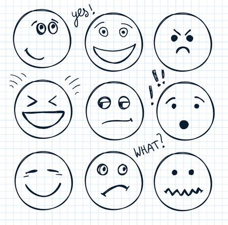 laugh emoticon: vector set of hand drawn faces, moods, smiles isolated. Illustration, doodle