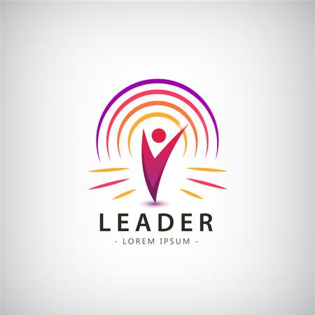 Éxito Salud plantilla de logotipo ganador Corporativa. Concepto de negocio. Abstracto humana. Vector línea de colorido icono. Logos