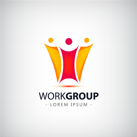 corporate team: vector abstract stylized family of 3, team lead icon, logo, sign isolated. Corporate identity