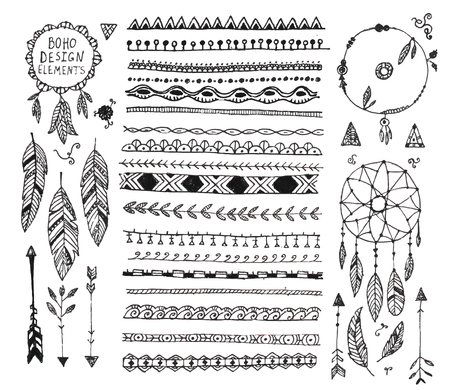 vector floral decor set, collection of hand drawn doodle boho style dividers, borders, arrows design elements, dream catchers. Isolated. May be used for wedding invitations, birthday cards, banners Illustration