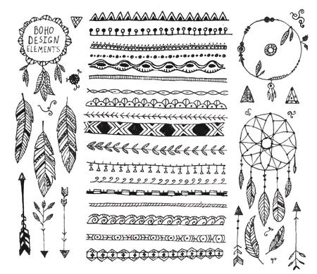 stile: vettore decorazioni floreali set, raccolta di disegnati a mano divisori in stile Doodle boho, fasce, elementi di design, frecce acchiappasogni. Isolato. Pu� essere utilizzato per gli inviti di nozze, biglietti d'auguri, striscioni