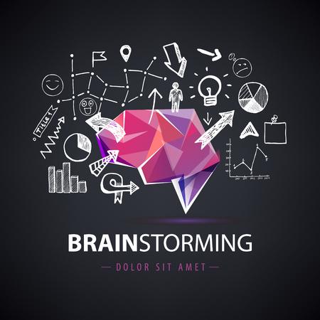 brainstorming: Vector creative logo, brainstorm logo, creating new ideas, teamwork illustration. Origami brain with hand drawn chart, arrows elements. Dark background