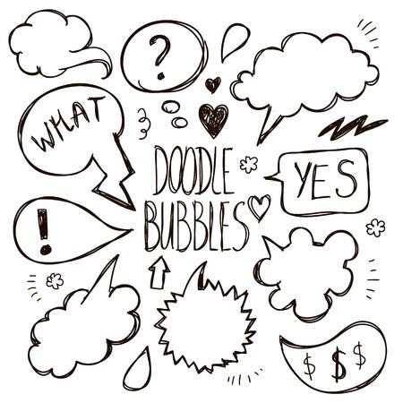 conversations: Vector set of hand drawn, doodle speech bubbles. Cartoon, comics, talking socializing illustration