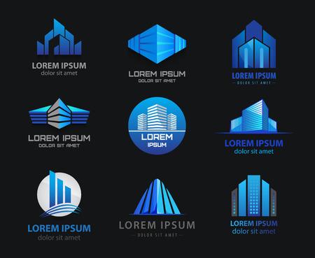 logo batiment: Vector set of 3d immeubles de bureaux bleu, maisons logo, gratte-ciel logo, logos, icônes. Identité. Fond noir