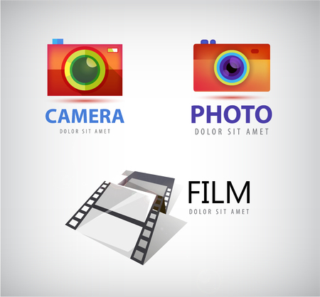 art logo: Vector set of camera logos, film logo movie, photo logo, icon isolated. Illustration