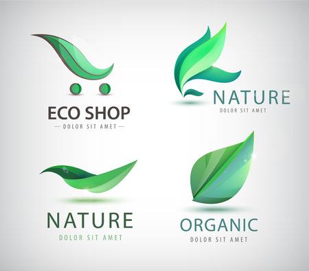 에코 로고의 벡터 설정, 유기 로고, 자연 로고를 떠난다. 바이오 에너지, 고립 된 유기 가게 로고 아이콘