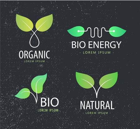 energy logo: Vector set of eco logos, leaves organic logos, nature logos. Bio energy, organic shop logo icon isolated