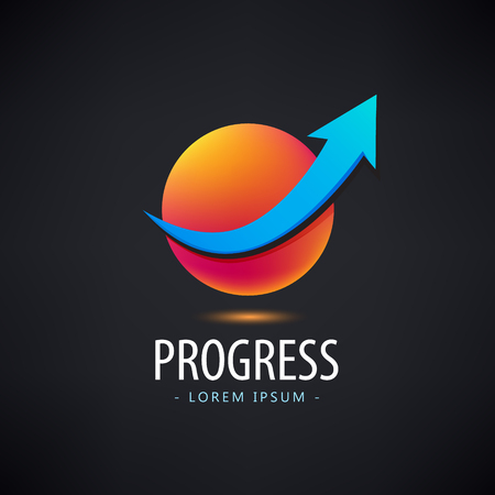 career up: Vector progress logo, growth logo, financial and business success logo, icon, arrow up logo sphere 3d, identity, web logo career success Illustration