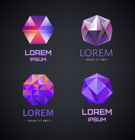prism: Vector set of purple crystal, faceted logos, 3d abstract logos, gem, jewelry logos, identity, icons. Dark background