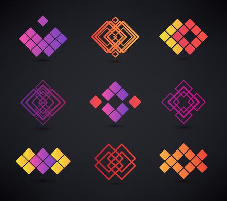 abstract logos: Vector set of abstract geometric logos, line, geometric
