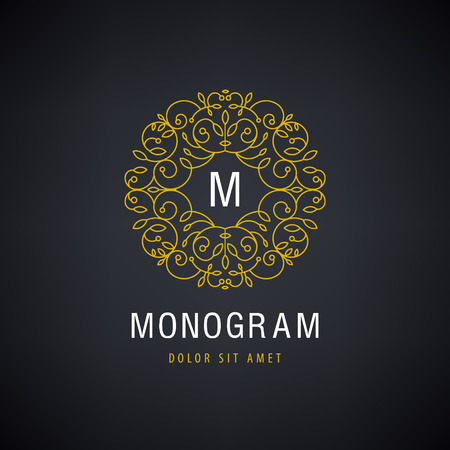 Vector Luxury monogram Vintage logo, icon. Business sign, identity for Restaurant, Royalty Boutique Hotel, Heraldic, Jewellery Fashion Real estate Resort King, tattoo, Auctions Illustration