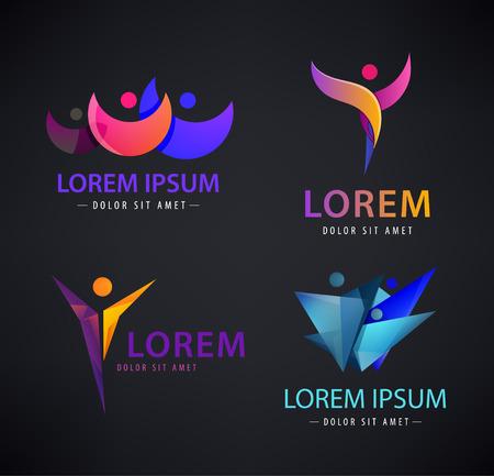 Vector set of man logo human logo, leadership logos, icons, illustrations. Business, sport logo family logo concept.