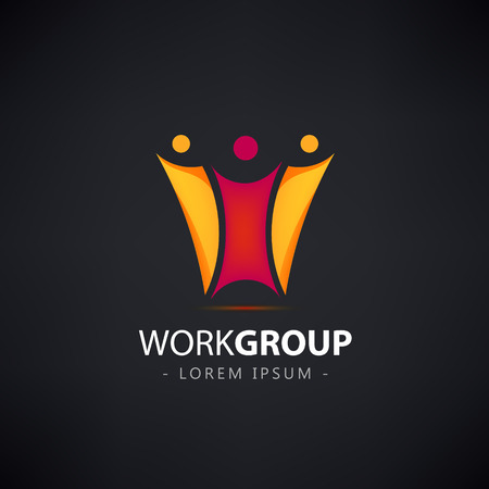 corporate team: vector abstract stylized family of 3, team lead icon, logo, sign isolated. Work group logo, creative team logo, illustration. Corporate identity Illustration