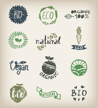 organic farm: Ink logotypes set. Badges, labels leaves,ribbons,  plants elements  laurel. Organic,bio ecology eco natural design template.Hand drawing painting.Vintage vector, black and white