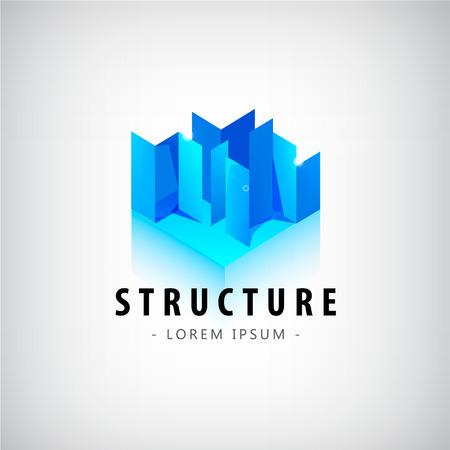 ベクトル抽象的な幾何学的な青いロゴ、アイコン。建設、建築、建築ロゴ、コンセプト ロゴ、シティのロゴを作成します。