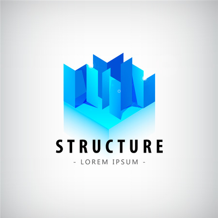 Vector abstrakte geometrische blaue Logo, das Symbol. Bau, Gebäude, Architektur-Logo, die Schaffung Konzept Logo, Stadt-Logo Standard-Bild - 52747826