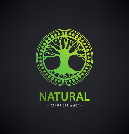Vector circle eco logo, tree logo, nature organic logo, icon isolated. Tree of life, round sign emblem