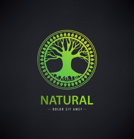 Vector circle eco logo, tree logo, nature organic logo, icon isolated. Tree of life, round sign emblem