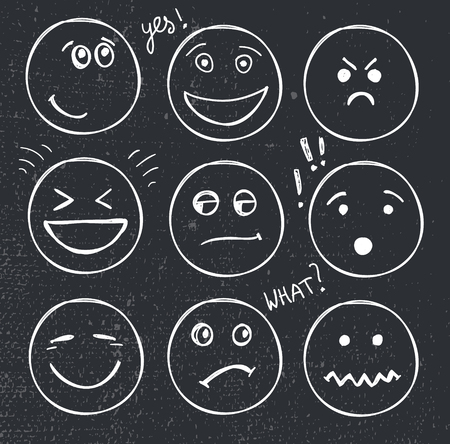 moods: vector set of hand drawn faces, moods, smiles isolated. Illustration, doodle