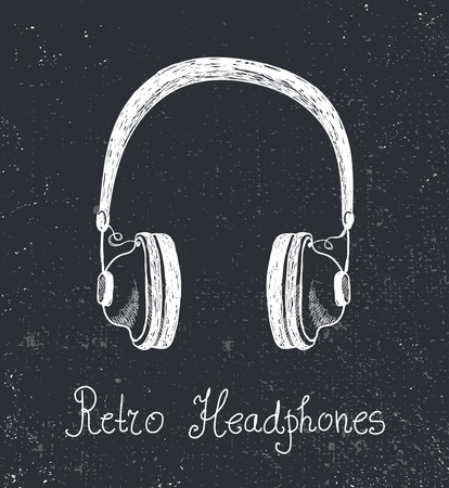 grooved: vector hand drawn retro headphones, earphones isolated. Hand drawn illustration, poster, print. Hipster Illustration