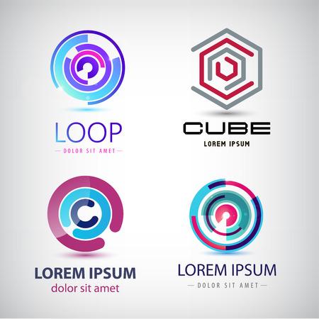 symbol technology: Vector set of abstract colorful loop logos, circle logos, web logos, icons isolated Illustration