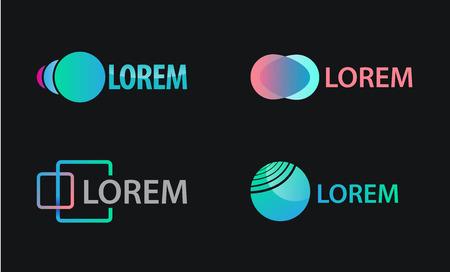 abstract logos: Vector set of abstract logos, icons, design templates. Sphere logos, geometric logos