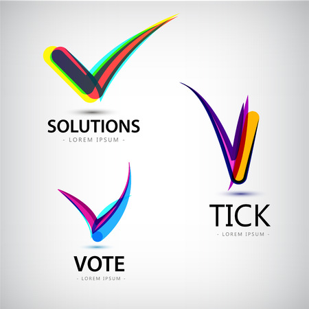 Vector set of tick logos, vote logos solutions, abstract colorful logos