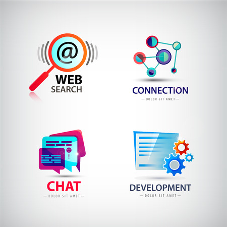 social net: Vector set of web logos, connection, web search logo, social net logo, development logo chat logo internet, computer logos, icons