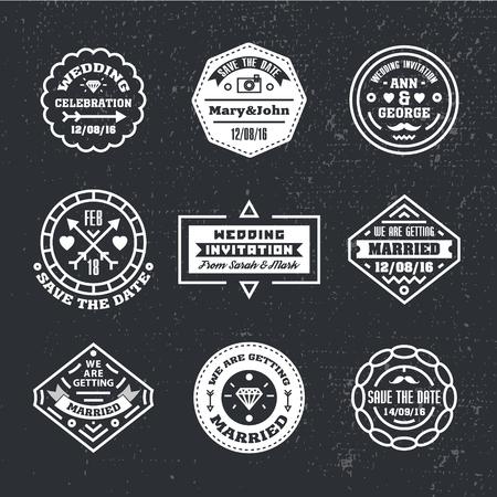 Conjunto de vectores de insignias de boda vintage, canta, logotipos. Reserva moderna de la boda del inconformista la fecha, invitación de la boda, plantillas de diseño. En blanco y negro