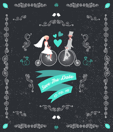 wedding invitation vintage: vector vintage retro wedding invitation, hand drawn design elements, groom and bride sitting on bicycles. Black background